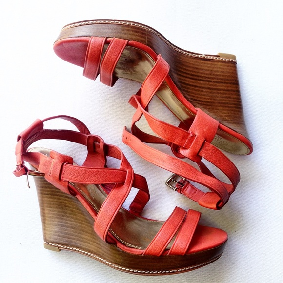 Coach Shoes - COACH coral orange sandals wedges heels 8